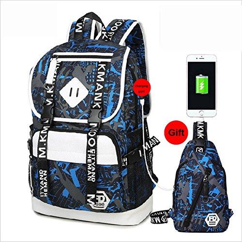 Oxford Satchel Port blue with Printing Rucksack USB Daypack Black School Computer Charging B Backpack Bag Business ash and Laptop dvAd8q