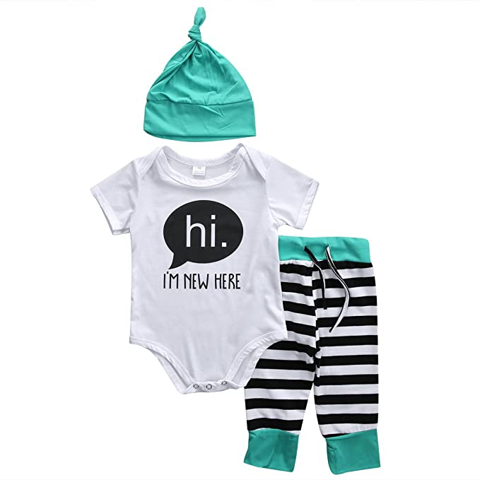f56c961a2 Baby Boys Girls hi I'M NEW HERE Short Sleeve Bodysuit and Pants Outfit with  Hat: Amazon.ca: Clothing & Accessories