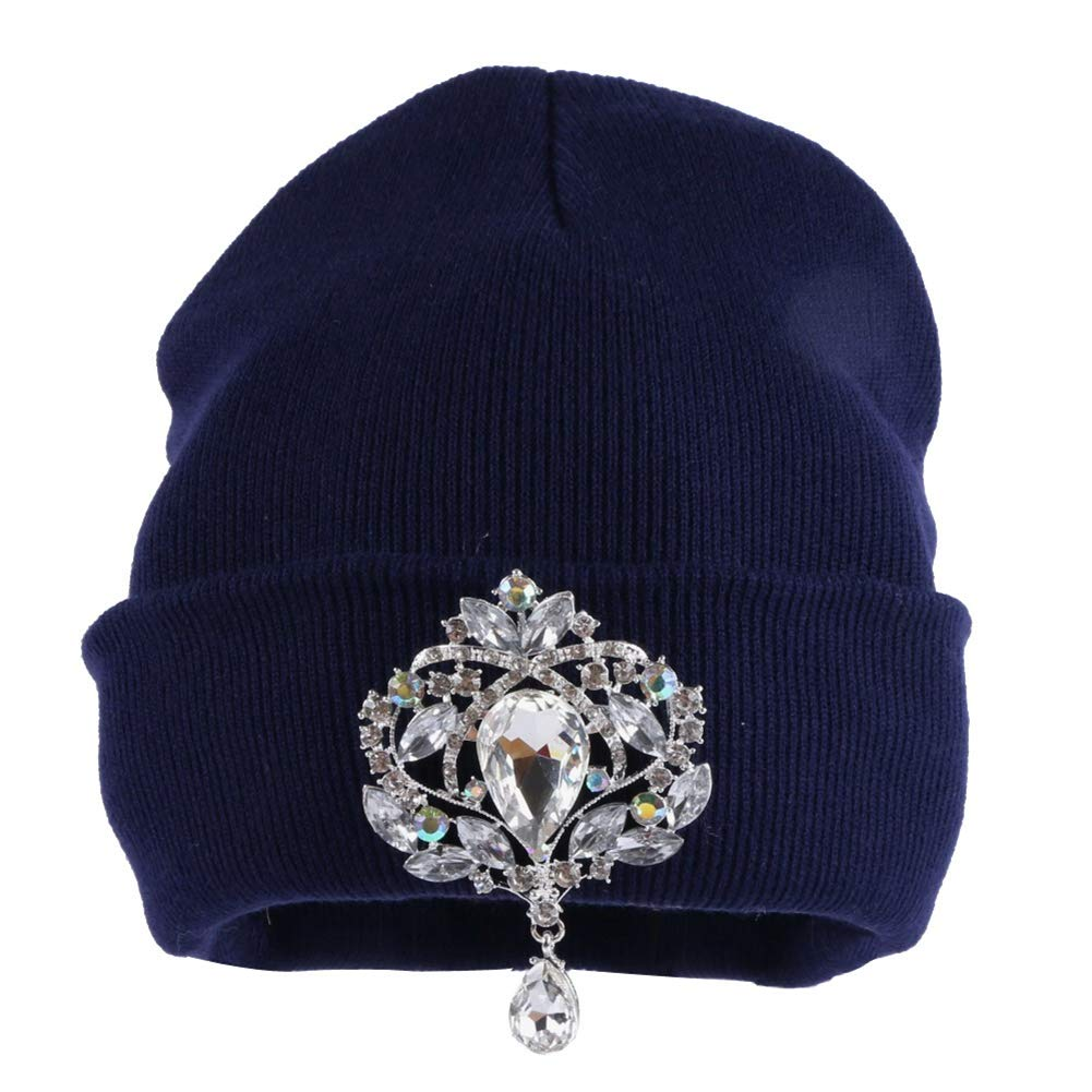 Women Beanie Hat Crystal Floral Luxury Casual Knitted Fashion Skull Hat