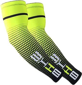 Aesy Manguitos de compresión para hombre [Anti UV + protección solar UPF 50 + Transpirables] para correr, ciclismo, voleibol