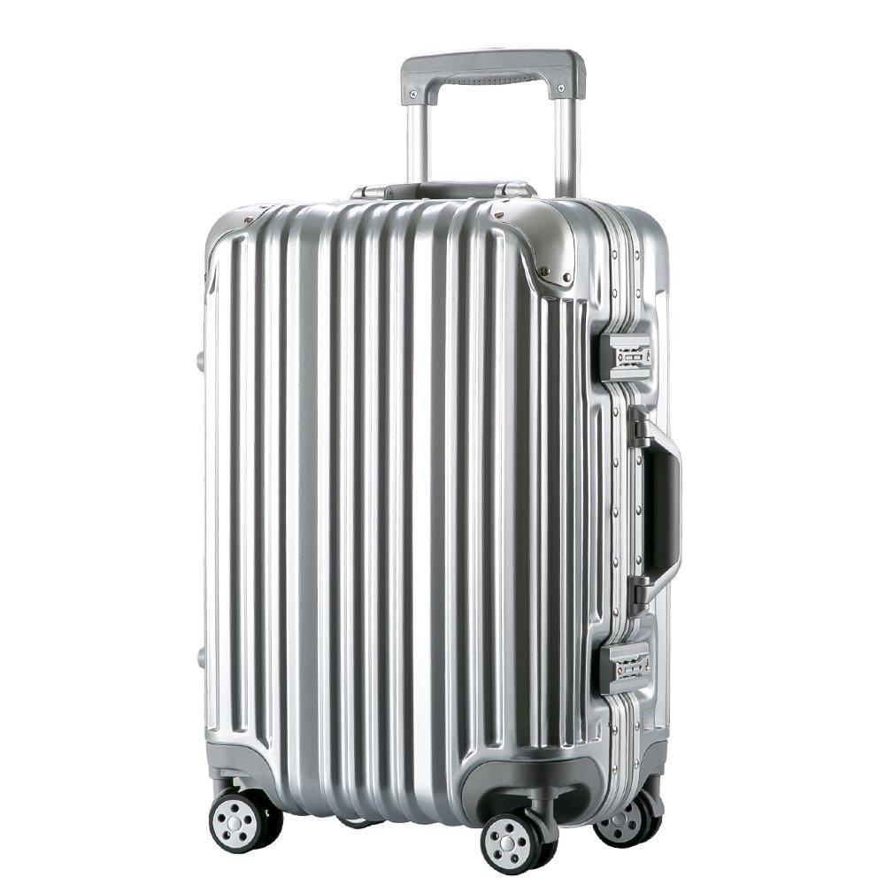 [トラベルハウス]Travelhouse スーツケース キャリーバッグ アルミフレーム ABS+PC 鏡面 超軽量 TSAロック B01L1J2V8M M|シルバー シルバー M