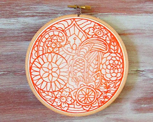 Orange Moon Embroidered Hoop Art-Hoop