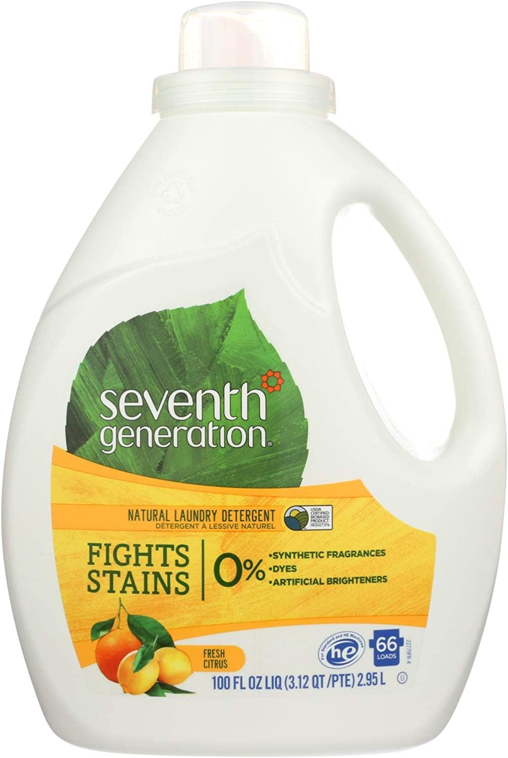 Seventh Generation Natural Laundry Detergent, Fresh Citrus, 100 oz. (Pack of 4)