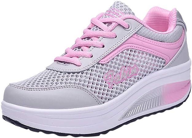 Caren Zapatos para Correr para Mujer Zapatillas De Deporte Transpirables De Malla Clásica Zapatillas De Deporte con Cordones De Aire Ocasionales Zapatos Deportivos con Cordones: Amazon.es: Hogar