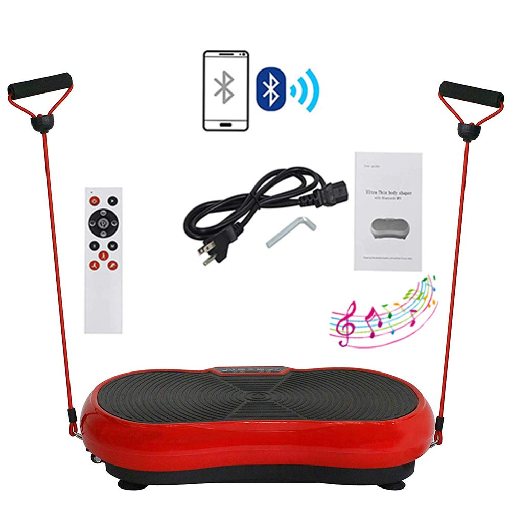 HomGarden Crazy Fitness Vibration Fit Machine Plate Platform Massager - Whole Full Body Shape Exercise Machine Workout Trainer Slim w/Bluetooth, Red by HomGarden