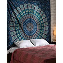 Blue Color Peacock Theme Queen Size Mandala Wall Tapestries Psychedelic Tapestry Indian Bedding Bohemian Wall Hanging Floral Print Bed Sheet Coverlet Bedspread Hippy Decor Curtains Dorm Room Decor Gypsy Wall Art Tapestry By Rajrang