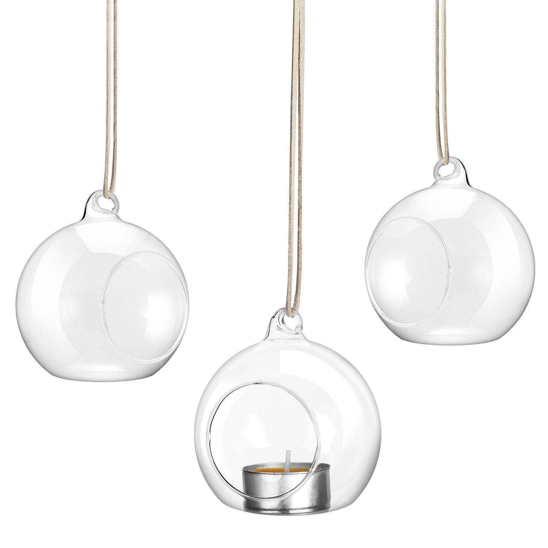 0ceb96ceaf7 tinxi 3X Transparente Bolas de cristal Candelabro portavelas Candelabro con  gancho para colgar