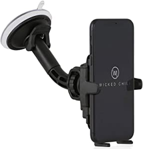 Wicked Chili Car Mount Universal Phone Holder for Apple iPhone X / 8/7 / 6S / 6 / SE / 5S / 5C / 5/4 / SE II iPod Touch Suction Cup Carmount for Smartphone (Made in Germany, for Cover and Case)