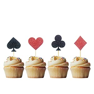 Morndew 24 PCS Casino Night Poker Cupcake Toppers for Las Vegas Theme Party Wedding Party Birthday Party Decorations