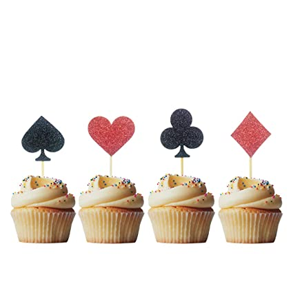 Morndew 24 piezas Casino noche póquer Cupcake Toppers para ...
