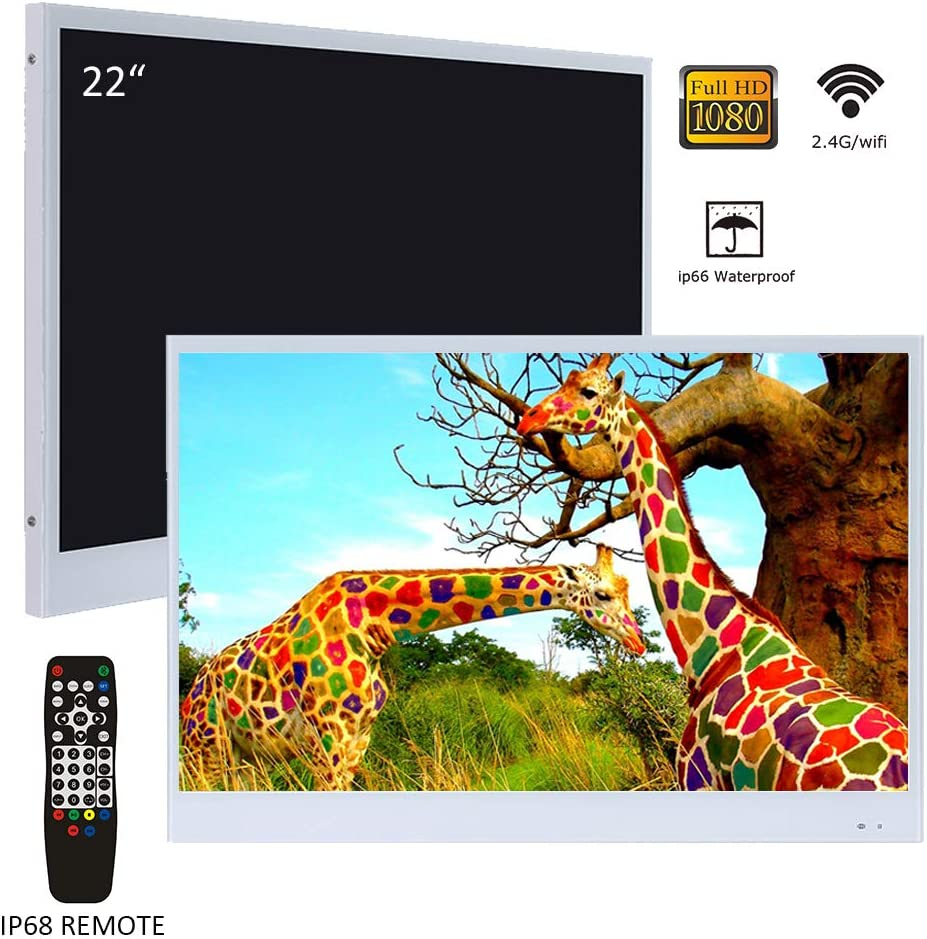 Soulaca 22inches White Color LED TV Bathroom Salon Decoration Smart Android Shower Television