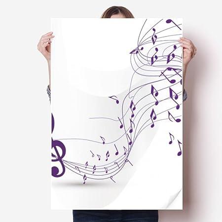 DIYthinker Flappg púrpura Notas de la música Pegatina Blanco ...