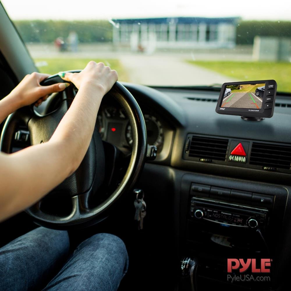Pyle Upgraded Wireless Backup Camera and Monitor Kit - Vehicle Parking Reverse System IP67 Waterproof and Fog Resistant w/ 4.3'' LCD Screen and Tilt-Adjustable Dash Cam w/Night Vision PLCM4378WIR
