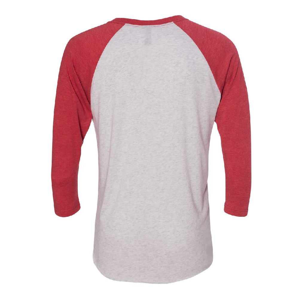 Hipster White Lion with Glasses 3/4 Raglan Tee Fancy Fashion Animal Jersey Red/White XX-Large