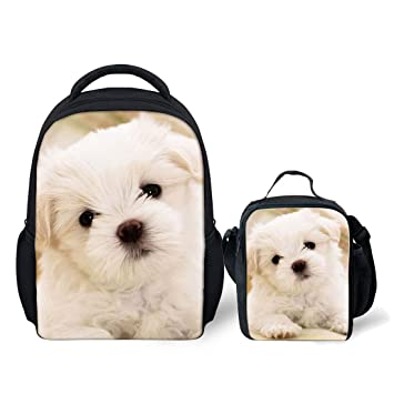 Amazoncom Instantarts Kids Maltese Dog Backpacks For School Bags