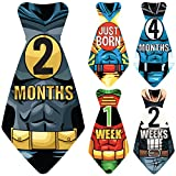 Original Stick'Nsnap (TM) 17 Baby Monthly Necktie Onesie Stickers -''Happy Heroes'' (TM) Milestones for 12 Months +5 Bonus Milestones - Great Baby Shower Gift!