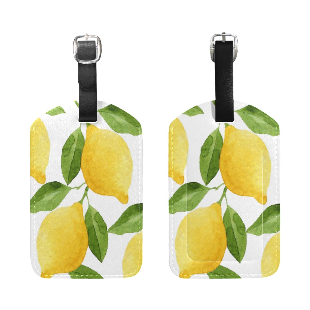 Fruits Drinks Flamingo Luggage Tag Label Travel Bag Label With Privacy Cover Luggage Tag Leather Personalized Suitcase Tag Travel Accessories