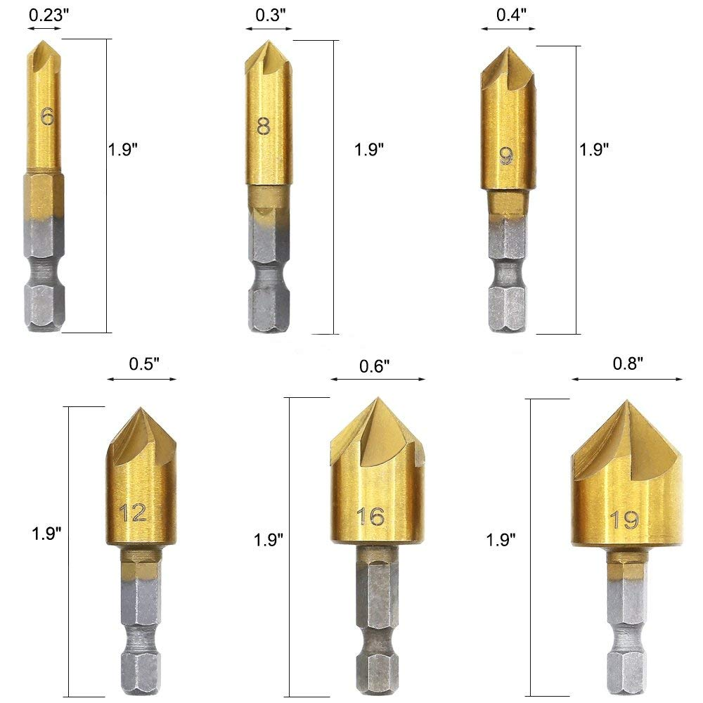 Noblik Woodworking Drilling Or Chamfer Tool,8Pc wood Plug Cutter,6Pcs 1//4 Inch Hex Shank 5 Flute 90 Degree Countersink Drill Bits,7Pcs Three Pointed Countersink Drill Bit With L-Wrench