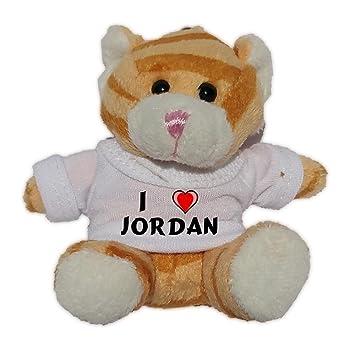 Gato marrón de peluche (llavero) con Amo Jordan en la camiseta
