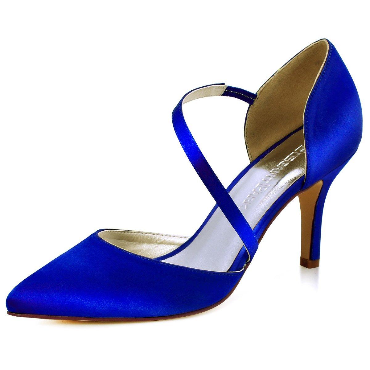 ElegantPark HC1711 punta estrecha de las mujeres tacones de aguja zapatos de tacón alto correas boda fiesta de graduación zapatos de novia 37 EU Azul