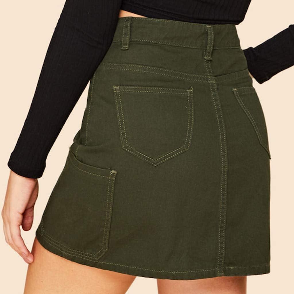 HENWERD Women High Waist Skirt Summer Style Single Button Pockets Slim Mini Skirts