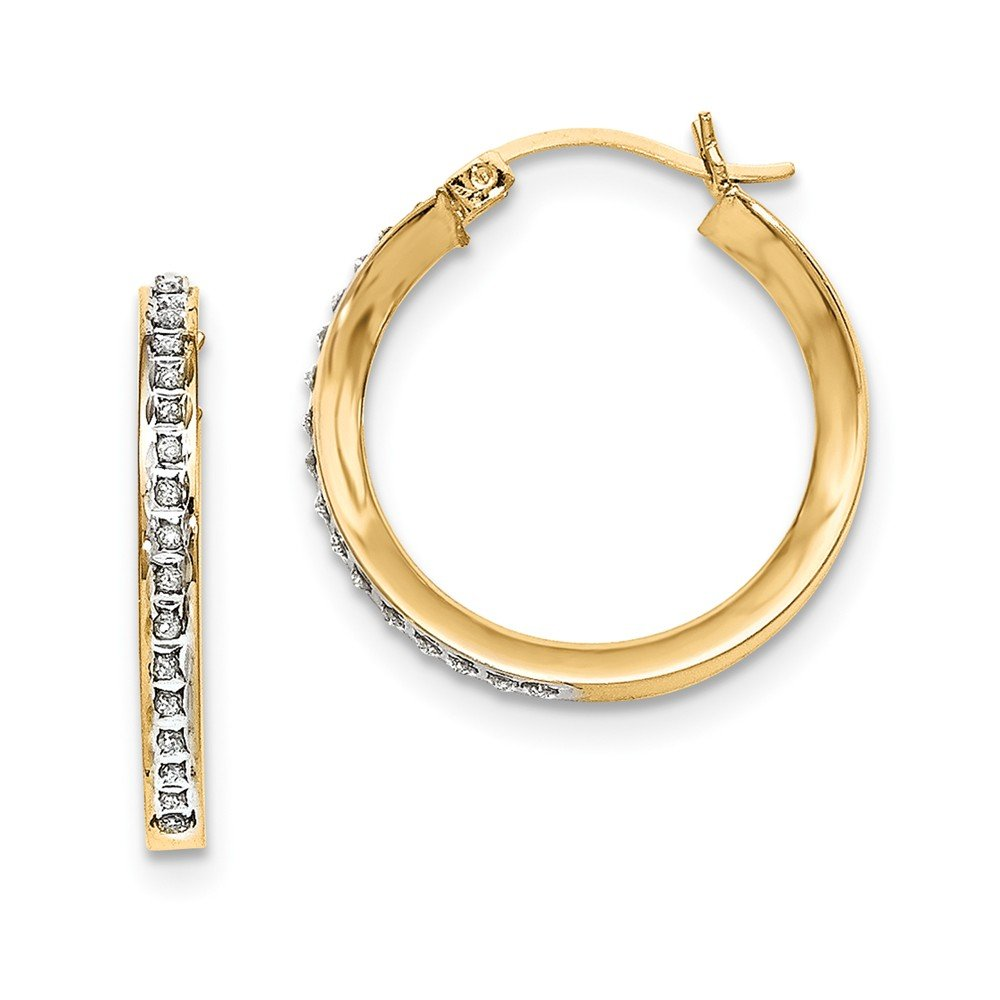 925 Sterling Silver Gold-plated Dia Mystique Round Hinged Hoop Earrings