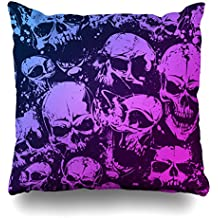 """Suesoso 20""""x20"""" Two Sides Printed Soft Cotton Mess Of Skulls Model 1 Purple Color Throw Pillow Cover Home Decorative Cushion Case Pillow Case sofa bed car living home with hidden zipper"""