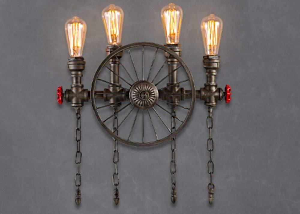 Lámpara de pared de tubo de agua industrial retro europeo Luces, Restaurante Bar, luces de pasillo de hierro creativa Lámpara de Pared lámparas prácticas y ...