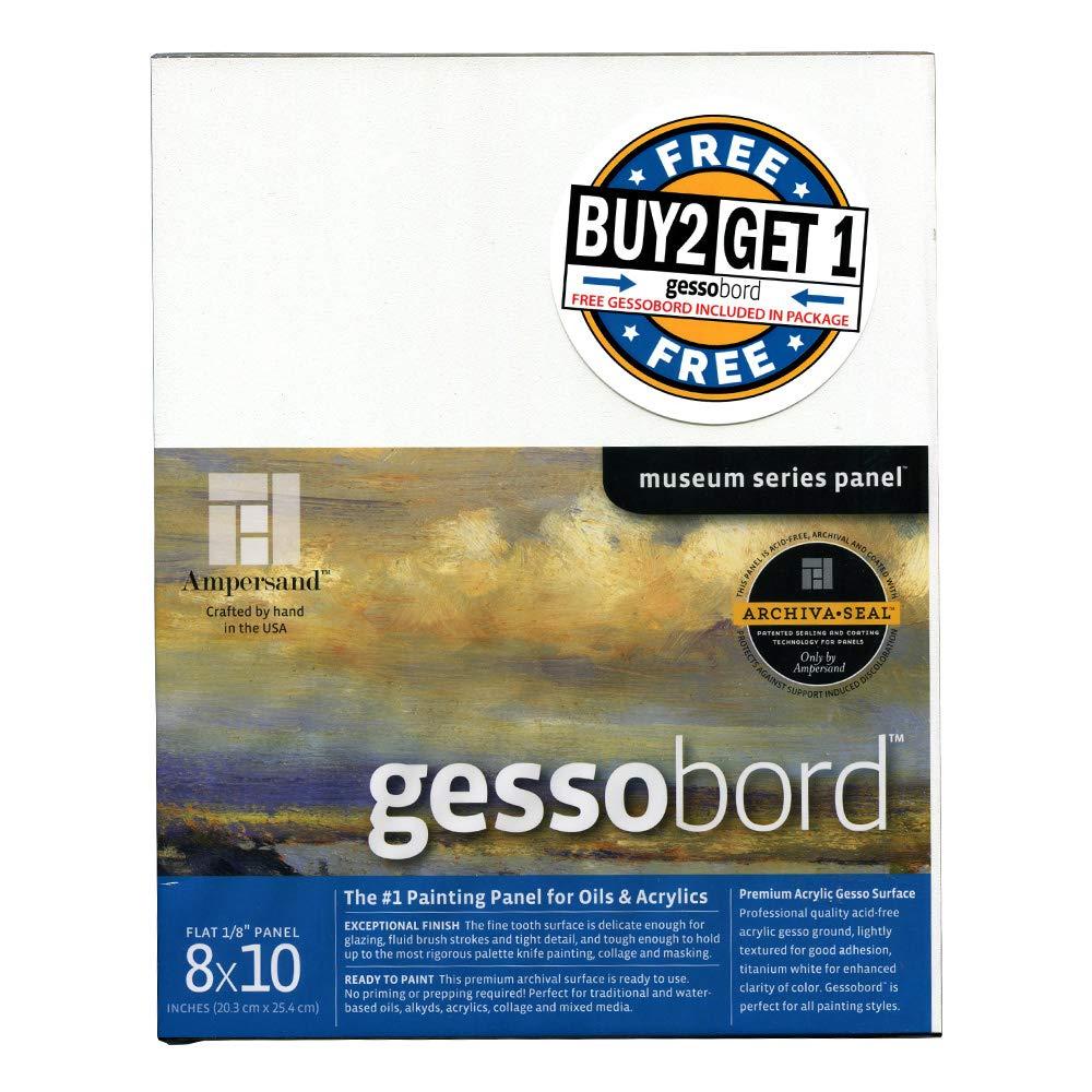 AMPERSAND ART SUPPLY Buy 2 Get 1 Gessobord Panel 1/8in (Deep) Flat 8X10 Bundle White