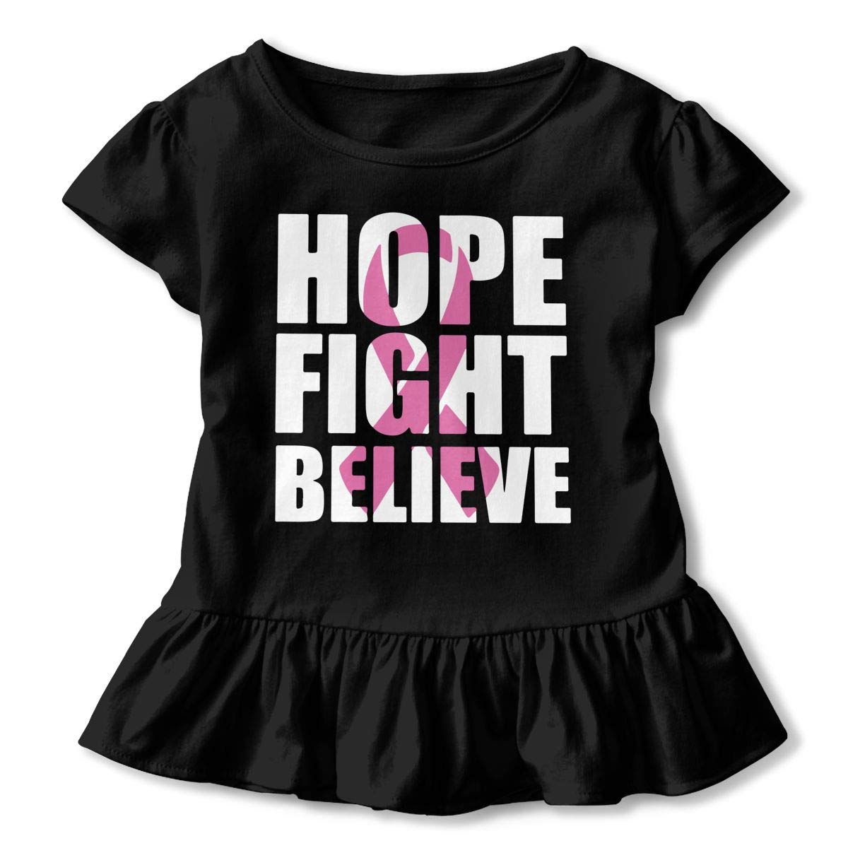 SHIRT1-KIDS Breast Cancer Hope Fight Believe T-Shirt Childrens Girls Short Sleeve Ruffles Shirt Tee for 2-6T