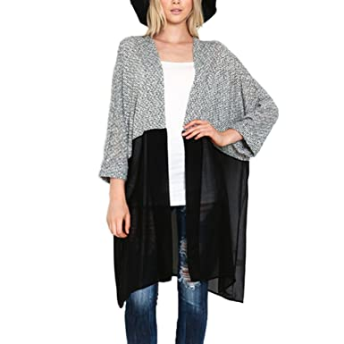 exiu mujeres Jersey de punto para Patchwork Cardigan chaqueta  Amazon.es   Ropa y accesorios 4ebf1f6f549c