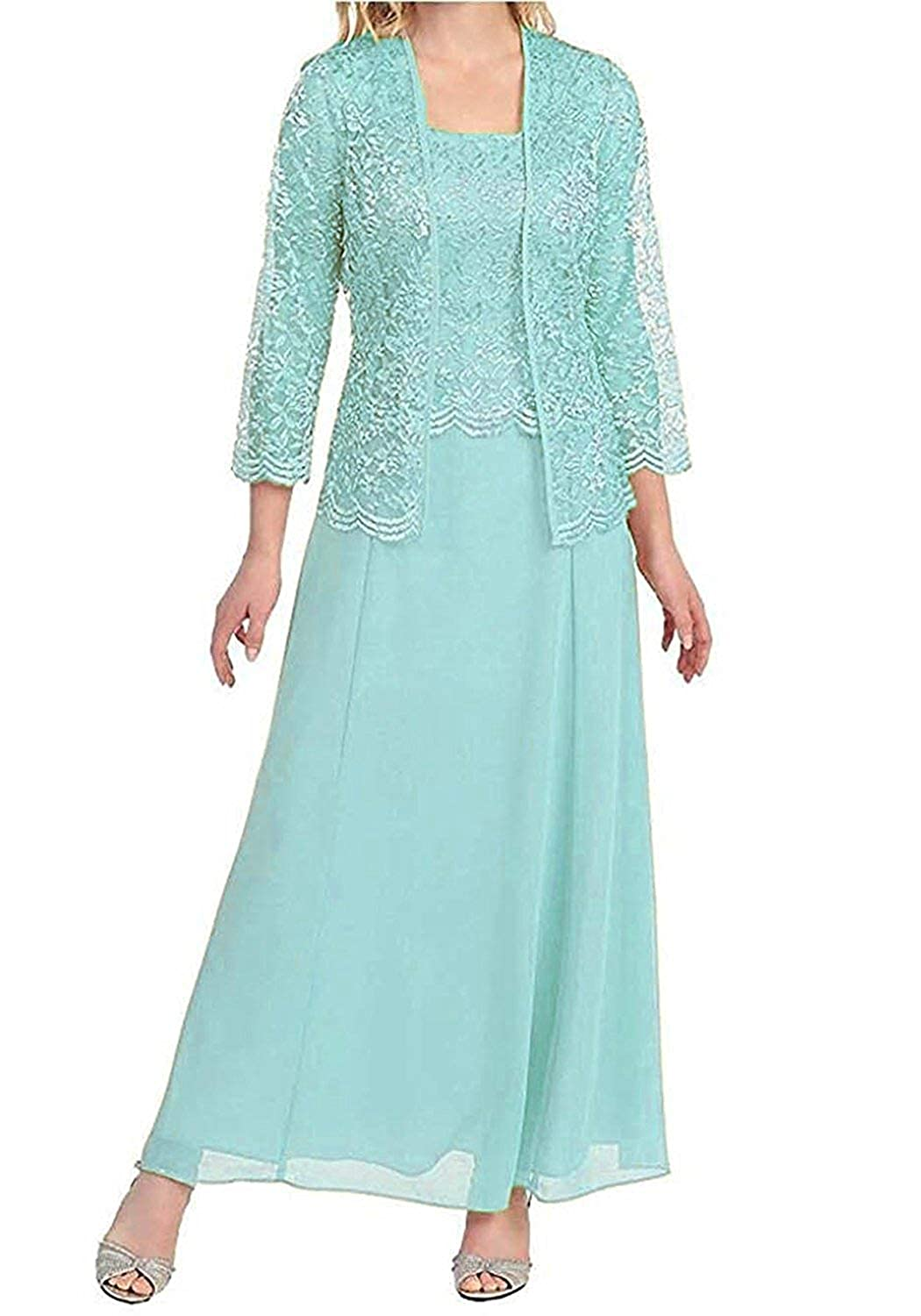 Light bluee Mother of The Bride Dresses with Jackets Formal Evening Gowns Long Sleeves Lace Mother Dress