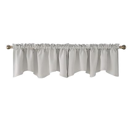Deconovo Greyish White Valances for Window Kitchen Valance Scalloped  Valance Blackout Valance Curtain 42x18 Inch 2 PCS