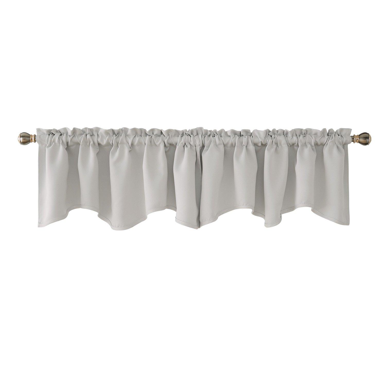 Deconovo Greyish White Valances for Window Kitchen Valance Scalloped Valance Blackout Valance Curtain 52x18 Inch 2 PCS