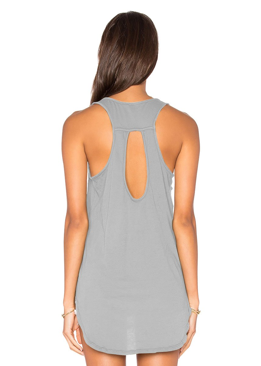 2e2778c7e5 Yucharmyi Women's Casual Loose Summer Tank Backless Shirts Sexy Sleeveless  Blouse Backless Tunic Knit Tank Tops Plain Scoop Neck Tank Top (Gray, M)