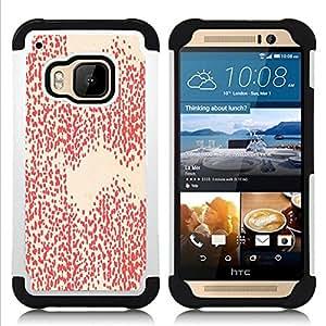 HTC One M9 /M9s / One Hima - 3 en 1 impreso colorido de Altas Prestaciones PC Funda chaqueta Negro cubierta gel silicona suave (Motif blanc Fond d'écran Art)