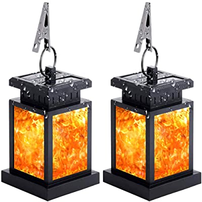 Solar Lantern Lights Outdoor Waterproof Solar Table Lamp Hanging Lighting with 30 Warm White LED Auto On/Off Lighting Dusk to Dawn for Garden Patio Deck Yard Path Christmas Decoration(2PCS)