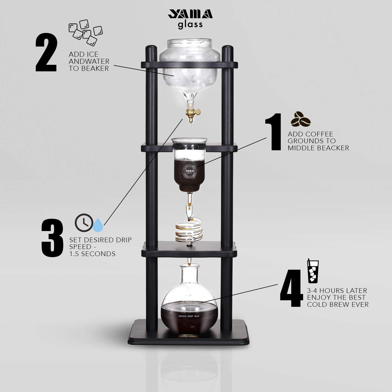 YAMA Glass YAMCDM8CBR, Brown Frame Cold Brew Drip Coffee Maker, 6-8 cup by Yama Glass (Image #8)
