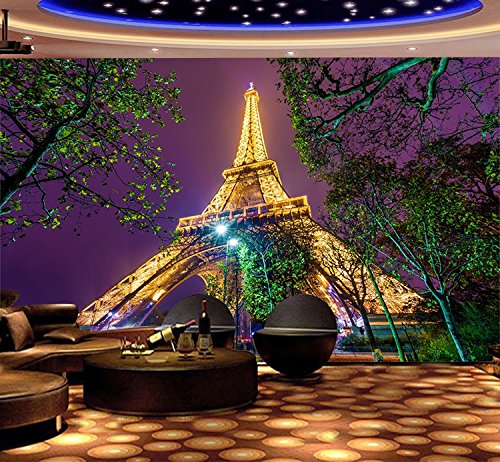Paris Eiffel Tower Night View  Wall Paper Wall Print Decal Wall Decor