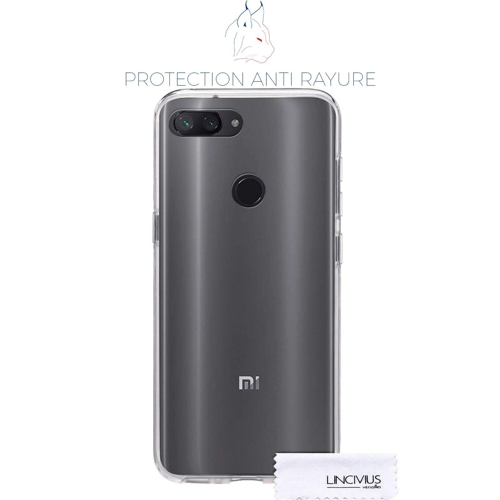 LINCIVIUS  Coque Integrale Compatible avec Xiaomi Mi 8 Lite, Coque de Protection 2 en 1 Bumper Transparent Silicone Avant Et Arrière Contour Bumper Rigide pour Xiaomi Mi 8 Lite, Transparent