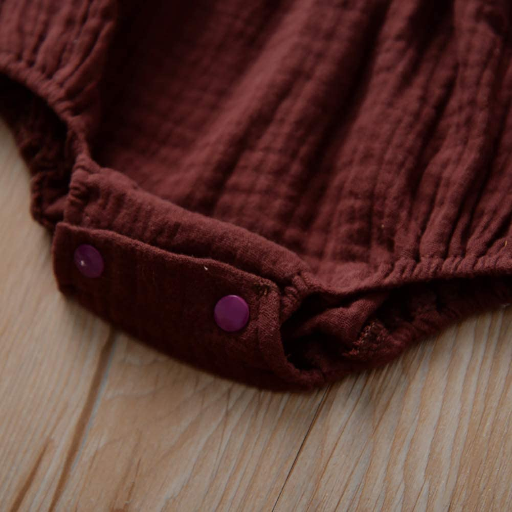 Miyanuby Newborn Baby Girls Romper Ruffles Sleeve Lace Summer Jumpsuit Bodysuit Clothes