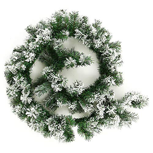 BullStar 6 Feet Christmas Decorations Christmas Garland Artificial Wreath with Berries and Pinecones Xmas Decorations for Stairs Wall Door (1 Pack, F-Snow)