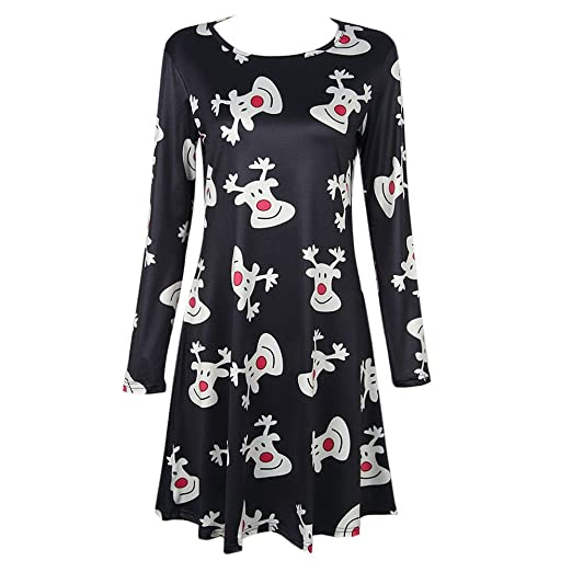 073282b528d7d VANSOON Womens Christmas Dresses Party Dress Fashion Xmas Printed Party  Flared Swing A-Line Dress Casual Mini Dress at Amazon Women s Clothing  store
