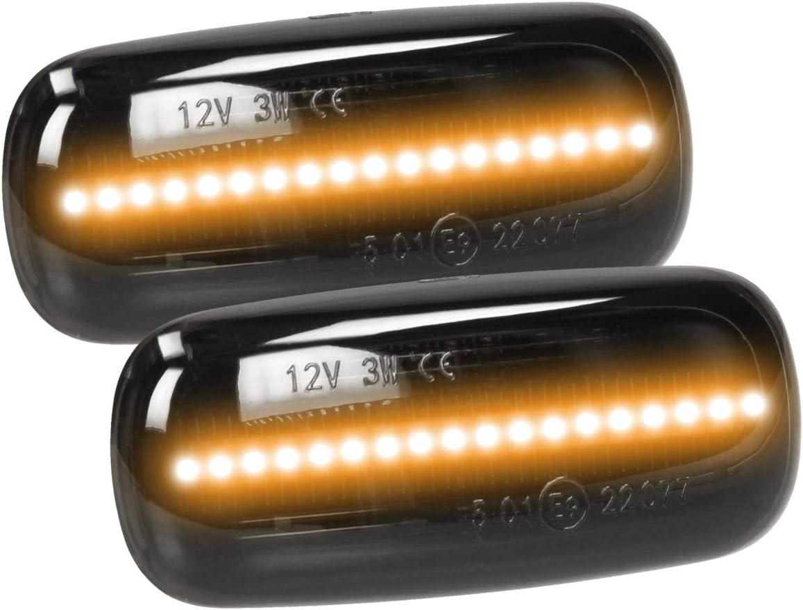 Tecnologia Plug /& Play con marchio E9 12 V Nero Indicatore Luminoso Indicatore di Direzione LED Giallo Arancione Lampeggiante per Auto ECD Germany 2 x Indicatore Laterale LED