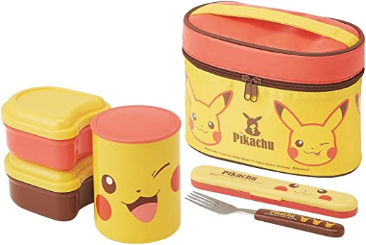 A child's bento box set decorated in the popular and familiar yellow Pikachu anime character. These lunch boxes usually come with their own utensils holder.