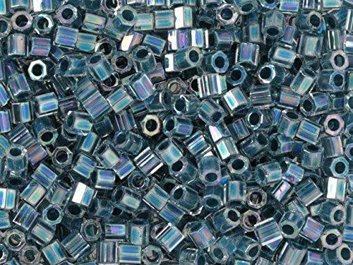 Miyuki 8g 8/0 Transparent Rainbow Slate Blue Hex Cut Seed Beads