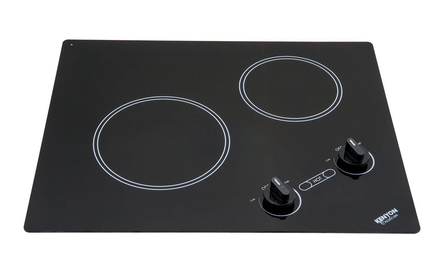 Kenyon B41604 6-1/2 and 8-Inch Arctic 2-Burner Cooktop with Analog Control UL, 240-volt, Black