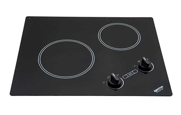 Kenyon B41603 6-1/2 and 8-Inch Arctic 2-Burner Cooktop with Analog Control UL, 120-volt, Black