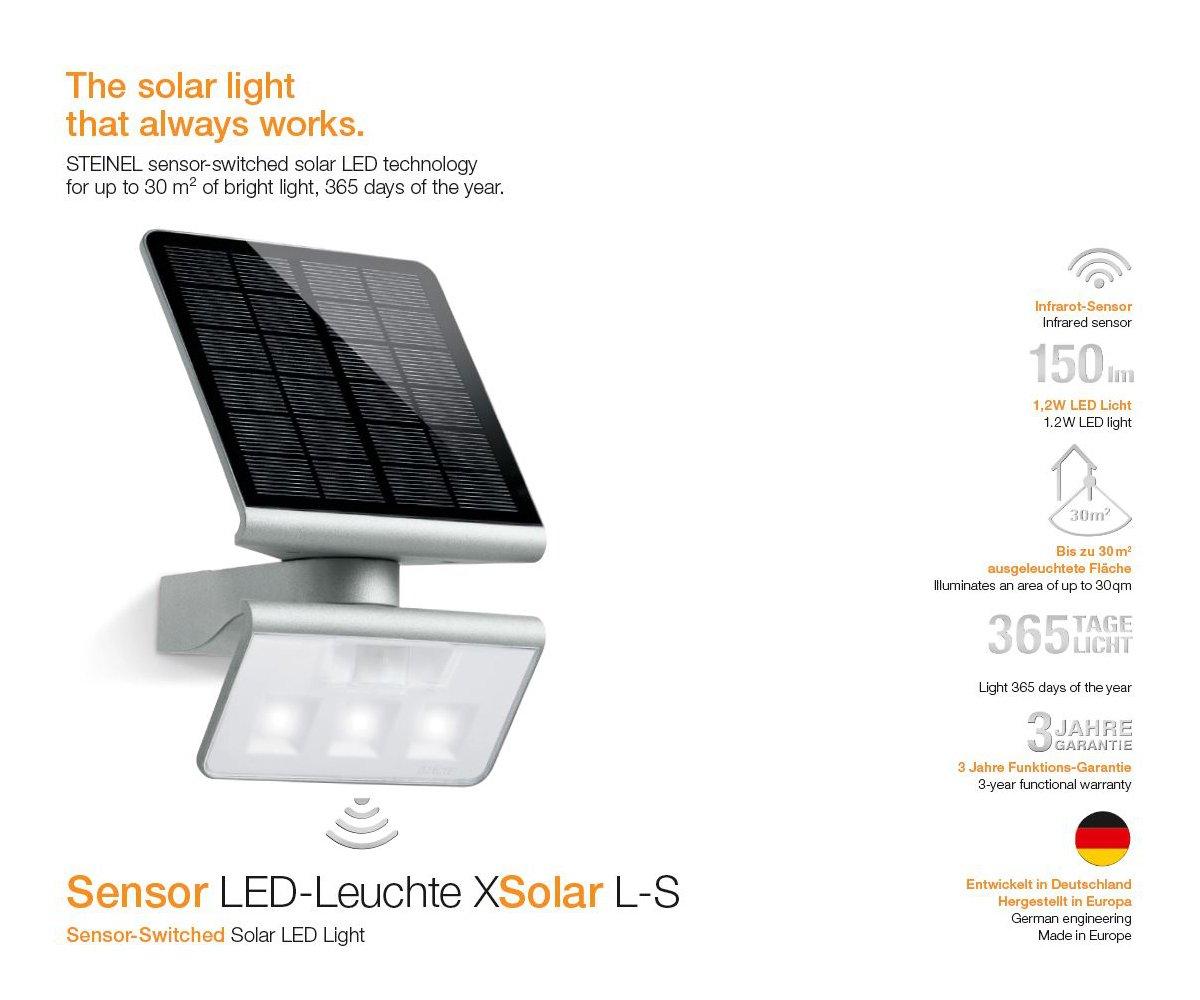 STEINEL ST 671013 Lampada per Esterni con Sensore Xsolar LED L-S, Argento, 0.5 W, Plata: Amazon.es: Iluminación