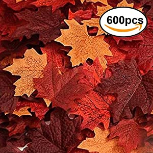 Echodo 600PCS Artificial Maple Leaves Decorations Autumn Fall Leaves for Thanksgiving Autumn Leaf Wedding Party 70